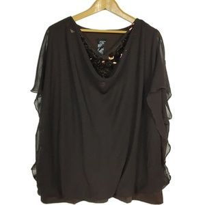 Brown Plus Size Layered Top with Sequins Pat Rego